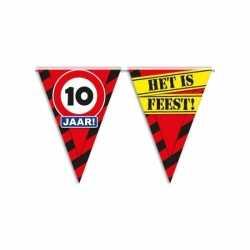 10 jaar vlaggenlijn waarschuwingsbord 10mtr