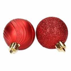 10 rode kerstballen glitter mat