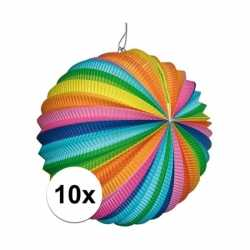 10 stuks ronde lampion felle kleurtjes