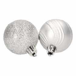 10 zilveren kerstballen glitter mat