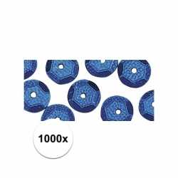 1000x pailletten blauw 6 mm