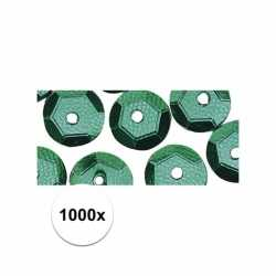 1000x pailletten groen 6 mm