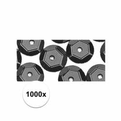 1000x pailletten zwart 6 mm
