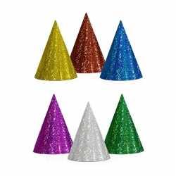 100x gekleurde feesthoedjes glitter