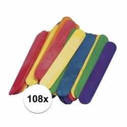108 gekleurde ijsstokjes knutselhoutjes 15 bij 2