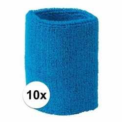 10x aqua blauw zweetbandje pols