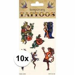 10x biker tattoos 6 stuks
