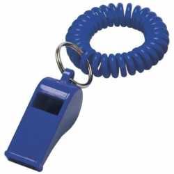 10x blauwe fluitjes aan polsbandje