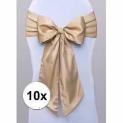 10x bruiloft stoel decoratie gouden strik
