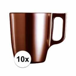 10x bruine koffie bekers/mokken 250 ml