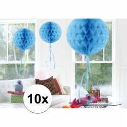 10x feestversiering decoratie bollen baby blauw 30