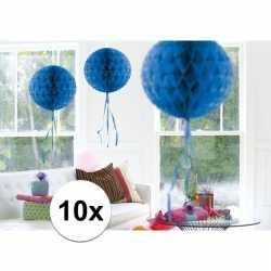 10x feestversiering decoratie bollen blauw 30