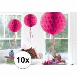 10x feestversiering decoratie bollen fel roze 30