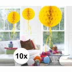 10x feestversiering decoratie bollen geel 30