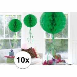 10x feestversiering decoratie bollen groen 30