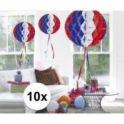 10x feestversiering decoratie bollen in amerikaanse kleuren 30 c