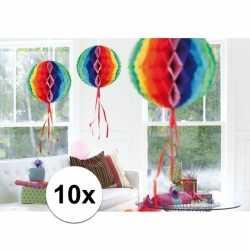 10x feestversiering decoratie bollen in regenboog kleuren 30