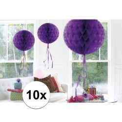 10x feestversiering decoratie bollen paars 30