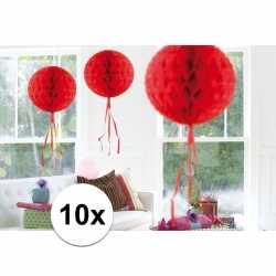 10x feestversiering decoratie bollen rood 30