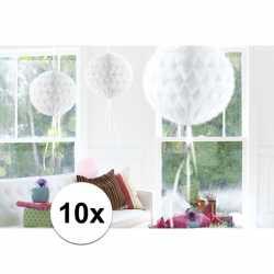 10x feestversiering decoratie bollen wit 30