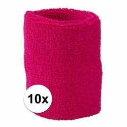 10x fuchsia roze zweetbandje pols