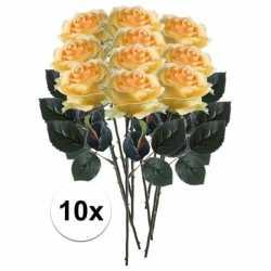 10x gele rozen simone kunstbloemen 45