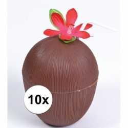 10x hawaii thema kokosnoot drinkbekers