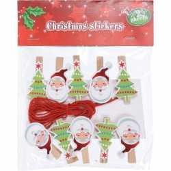 10x houten kerst knijpers kerstman/kerstboom koord