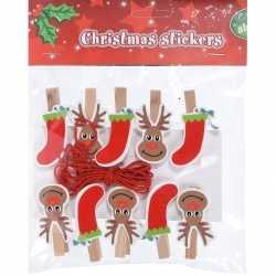 10x houten kerst knijpers rendier/kerstsok koord