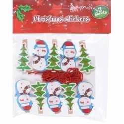 10x houten kerst knijpers sneeuwpop/kerstboom koord