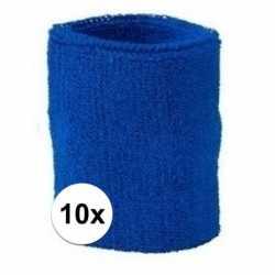 10x kobalt blauw zweetbandje pols