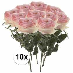 10x licht roze rozen simone kunstbloemen 45