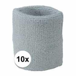 10x lichtgrijs zweetbandje pols