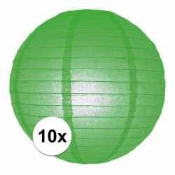10x luxe bol lampionnen groen 25