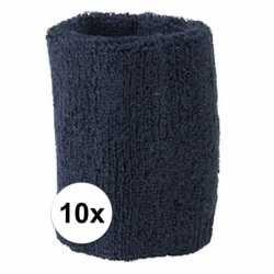 10x navy blauw zweetbandje pols