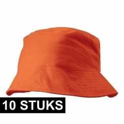 10x oranje vissershoedjes/zonnehoedjes volwassenen