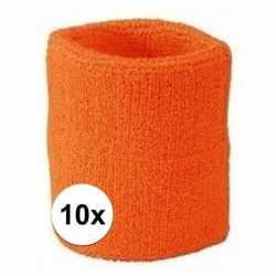 10x oranje zweetbandje pols