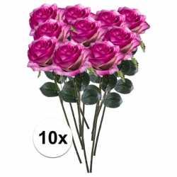 10x paars/roze rozen simone kunstbloemen 45