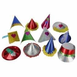 10x papieren glitter feesthoedjes kids