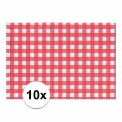 10x placemat rood/wit geblokt 43 bij 30