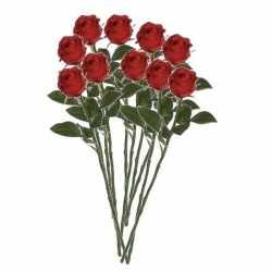 10x rode rozen kunstbloemen 45
