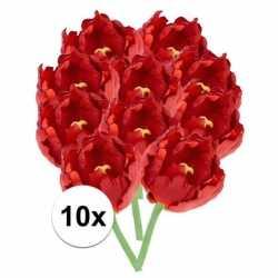 10x rode tulp deluxe kunstbloemen 25