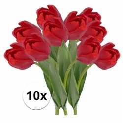 10x rode tulp kunstbloemen 48