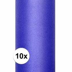 10x rollen tule stof blauw 0,15 bij 9 meter