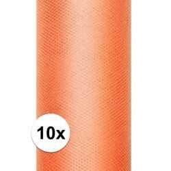 10x rollen tule stof oranje 0,15 bij 9 meter