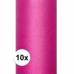 10x rollen tule stof roze 0,15 bij 9 meter