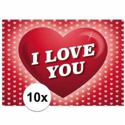 10x romantische valentijnskaart i love you hartjes