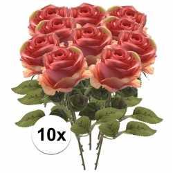 10x roze roos kunstbloem simone 45