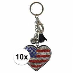10x sleutelhanger amerikaanse/usa vlag 15