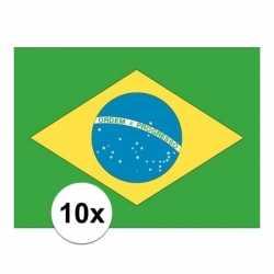 10x stuks vlag brazilie stickers